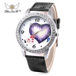 ZhouLianFa Female Quartz Watch Artificial Diamond Heart Pattern Dial Leather Band Wristwatch -