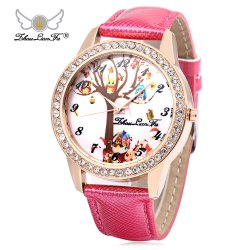 ZhouLianFa Women Quartz Watch Artificial Diamond Elk Pattern Dial Leather Band Wristwatch