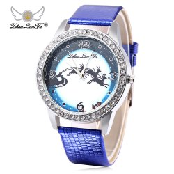 ZhouLianFa Women Quartz Watch Elk Pattern Dial Leather Band Wristwatch