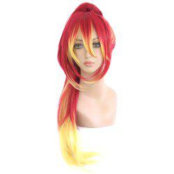 Loose Wavy Mixed Color Red Yellow Wigs with Ponytail Cosplay for Blue Exorcist Kirigakure Shura Figure -