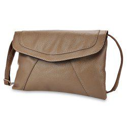 Guapabien Patchwork Magnet Button Shoulder Messenger Across Body Bag for Lady - KHAKI