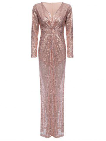 Cheap Plunge Sequin Sparkly Prom Bridemaid Dress