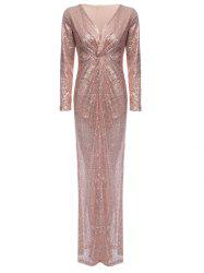 Plunge Sequin Sparkly Prom Bridemaid Dress -