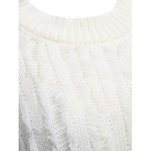 Chic Round Collar Fringed Pure Color Women Pullover -