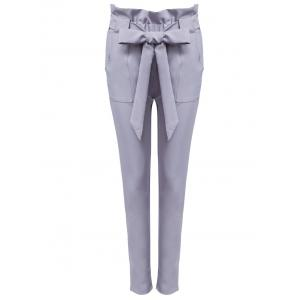 High Waist Bowtie Design Slim Scrub Pants