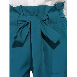 High Waist Bowtie Design Slim Scrub Pants - BLUE GREEN S