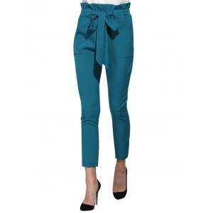 High Waist Bowtie Design Slim Scrub Pants - BLUE GREEN L