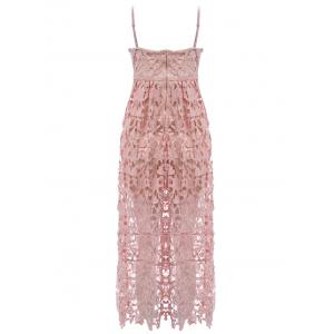 Lace Crochet Slip Zip Evening Party Dress - NUDE PINK M
