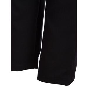 High Waist Bowtie Design Slim Scrub Pants - BLACK S