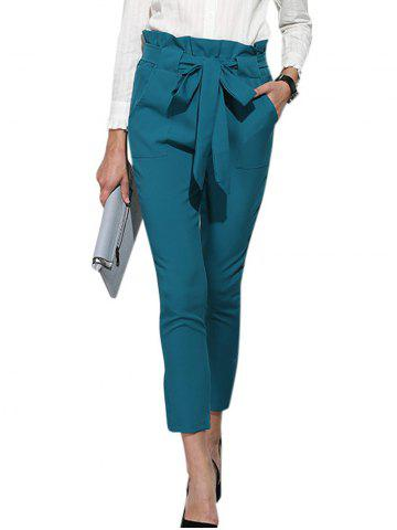 Fashion High Waist Bowtie Design Slim Scrub Pants BLUE GREEN S