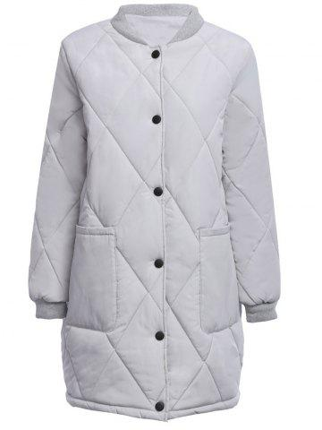 Cheap Casual Stand Collar Front Pocket Padded Women Coat