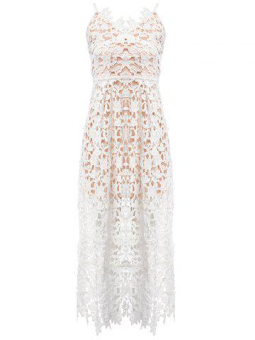 Outfits Lace Crochet Slip Zip Evening Party Dress WHITE M