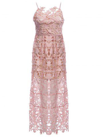 Cheap Lace Crochet Slip Zip Evening Party Dress NUDE PINK M