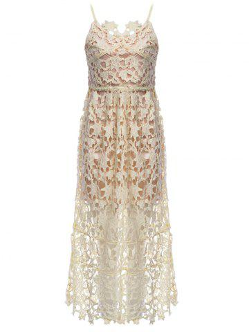 Affordable Lace Crochet Slip Zip Evening Party Dress YELLOW S