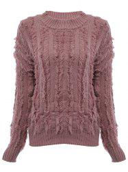 Chic Round Collar Fringed Pure Color Women Pullover - NUDE PINK