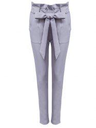 High Waist Bowtie Design Slim Scrub Pants - SMOKY GRAY