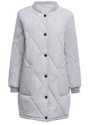 Casual Stand Collar Front Pocket Padded Women Coat -