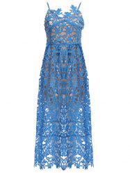 Lace Crochet Slip Zip Evening Party Dress - AZURE