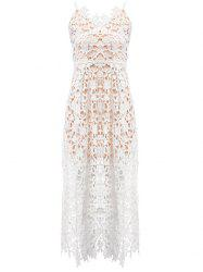 Lace Crochet Slip Zip Evening Party Dress