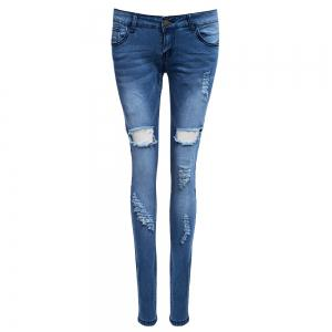 Holey Distressed Skinny Jeans