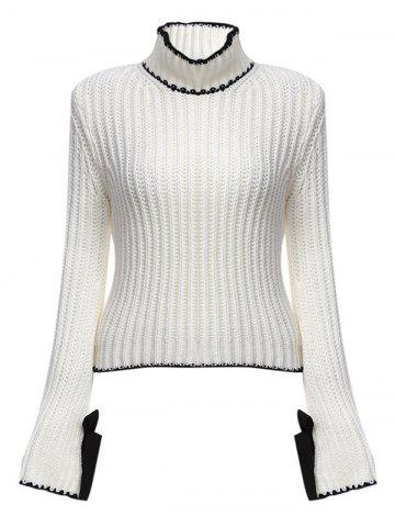 Fancy Chic Turtleneck Flare Sleeve Candy Color Women Pullover