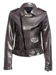 Trendy Turn Down Collar Zippered Women Biker Jacket -