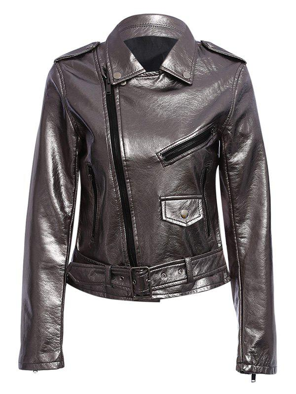 Discount Trendy Turn Down Collar Zippered Women Biker Jacket