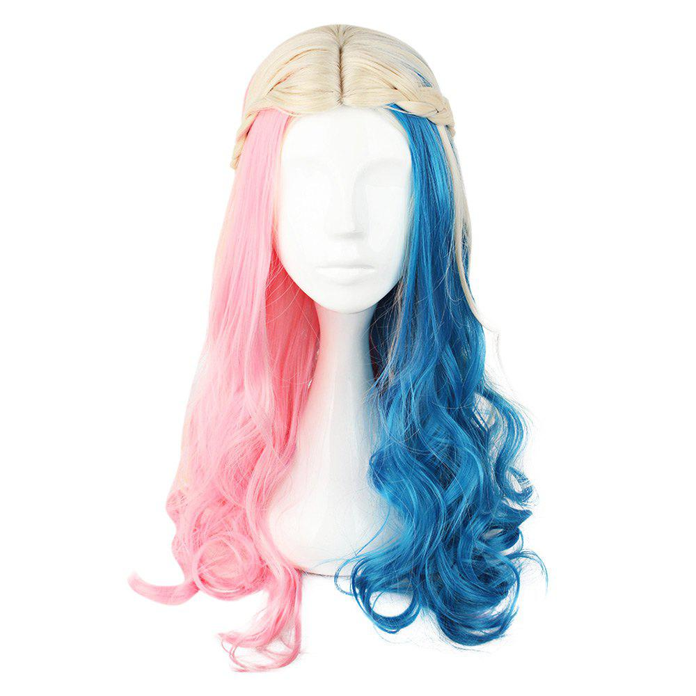 Cosplay Long Curly Mixed Colors Pink Blue Wigs - 591h 7f34af6ad