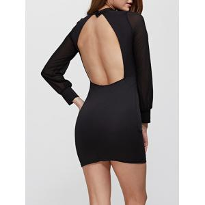 Sexy Round Collar Backless Bodycon Women Mini Dress -