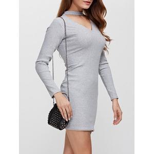 Simple Round Collar Cut Out Women Sheath Dress -