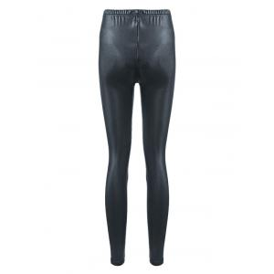 Brief Mid Waist Faux Leather Women Pants - DEEP GRAY ONE SIZE(FIT SIZE XS TO M)