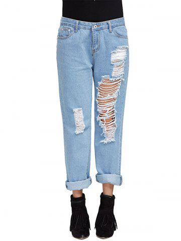 Cheap Chic Mid Waist Frayed Hole Design Distressed Boyfriend Jeans