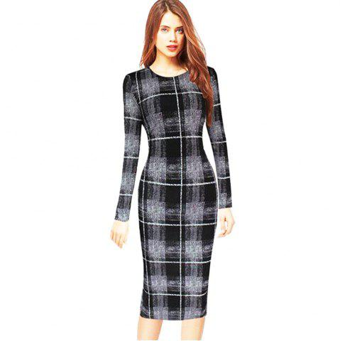 Long Sleeve Print Sheath Midi Dress - Checked - 2xl