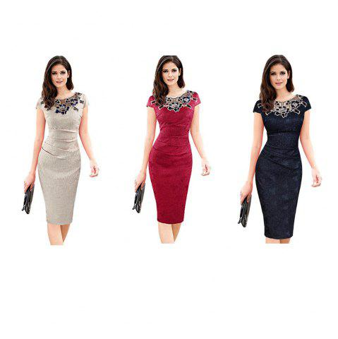 Shop Round Collar Floral Embroidery Bandage Sheath Dress - 2XL APRICOT Mobile