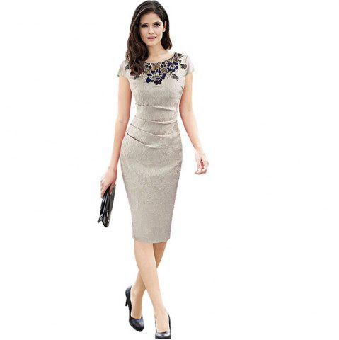 Fashion Round Collar Floral Embroidery Bandage Sheath Dress - 2XL APRICOT Mobile