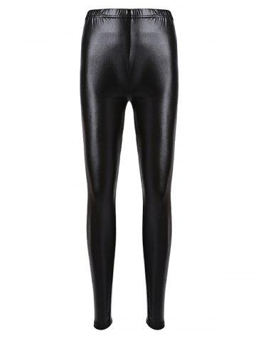 Fashion Brief Mid Waist Faux Leather Women Pants