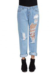 Chic Mid Waist Frayed Hole Design Distressed Boyfriend Jeans -