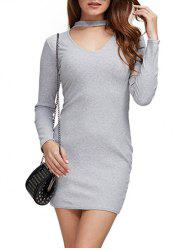 Simple Round Collar Cut Out Women Sheath Dress