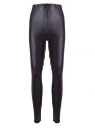 Brief Mid Waist Faux Leather Women Pants