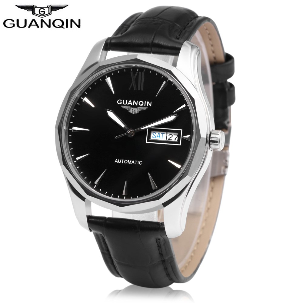 Sale GUANQIN GJ16034 Men Auto Mechanical Watch Date Day Display Genuine Leather Band Wristwatch