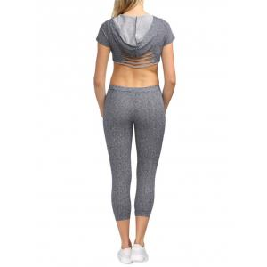 Active Hooded Frayed Cut Out Women Two Piece Sport Set -