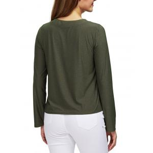 Chic Round Collar Front Criss Cross Loose Women Blouse - ARMY GREEN M