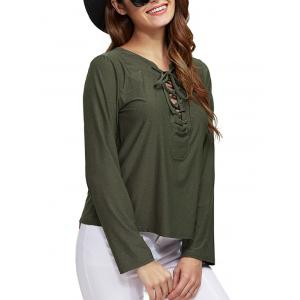 Chic Round Collar Front Criss Cross Loose Women Blouse -