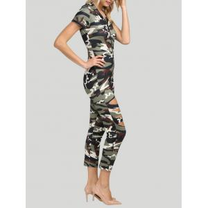 Hooded Allover Camouflage Cut Out Jumpsuit -