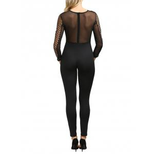 Sexy Round Collar Hollow Out Sheer Women Skinny Jumpsuit -