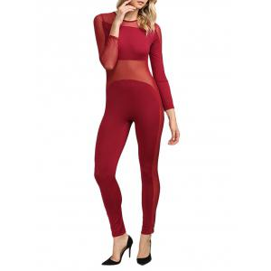 Sexy Round Collar Sheer Spliced Women Jumpsuit