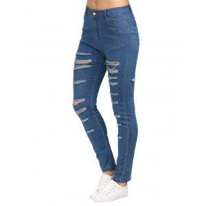 Mid Waisted Ripped Skinny Jeans - BLUE M