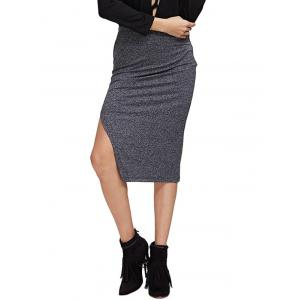 Chic High Waist Pure Color Slit Women Skirt