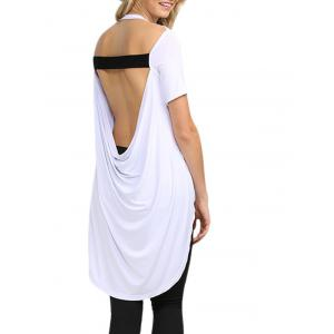 Sexy Backless Solid Color Asymmetrical Women T-Shirt -