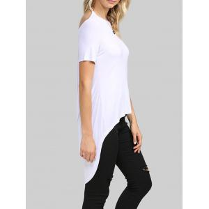 Sexy Backless Solid Color Asymmetrical Women T-Shirt - WHITE M